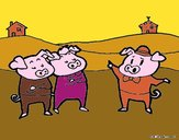 Dibujo Los tres cerditos 5 pintado por amalia