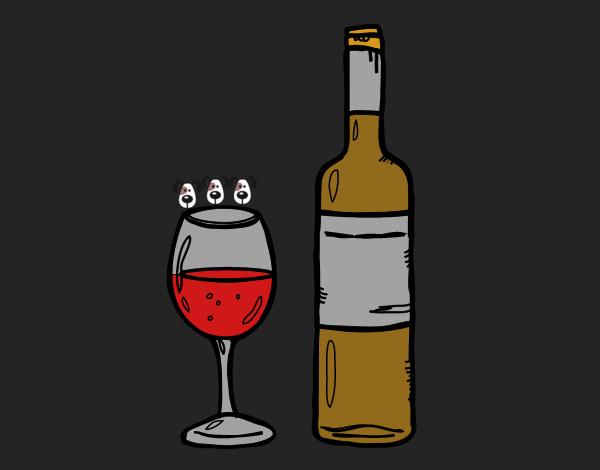 Dibujo De Botella De Vino Y Copa Pintado Por En Dibujos