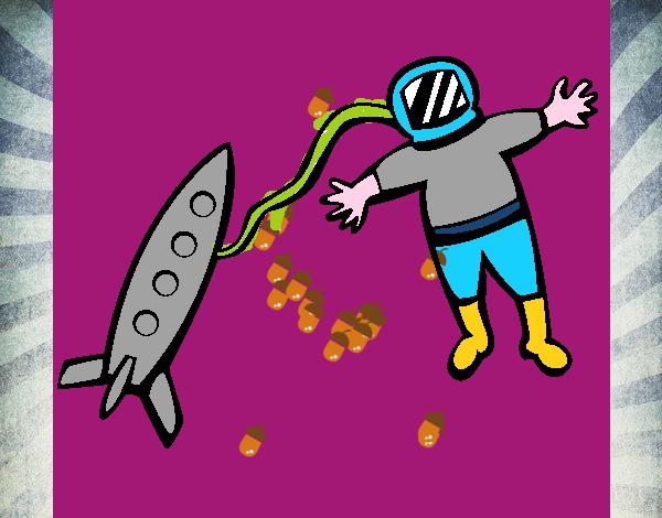 Cohete De Espacio De Dibujos: Dibujo De Cohete Y Astronauta Pintado Por En Dibujos.net