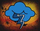 Dibujo Nube con rayo pintado por Axelale