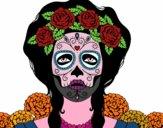 Dibujo Mujer calavera mejicana pintado por perlitamm