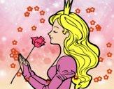 Dibujo Princesa y rosa pintado por nido