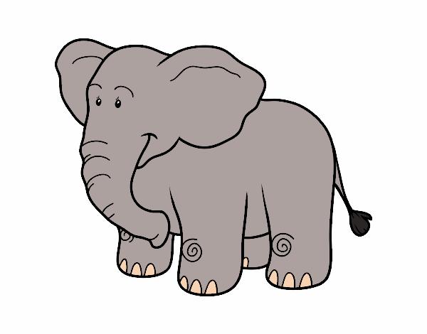 Dibujo de un elefante africano pintado por lamar en - Dibujos pintados en la pared ...