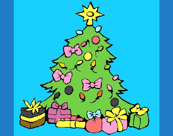 Dibujo de rbol de navidad pintado por en el for Dibujos de navidad pintados