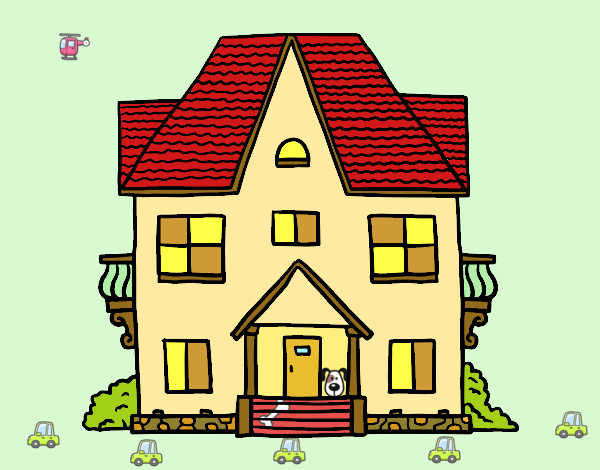 Dibujos Para Colorear De Casas De Campo: Dibujo De Casa De Campo Con Balcones Pintado Por Macheli