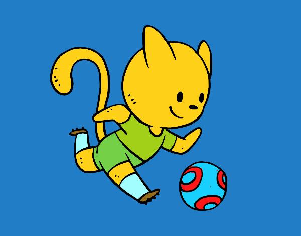 Dibujo De Jugando A Fútbol Para Colorear: Dibujo De Gato Jugando A Fútbol Pintado Por En Dibujos