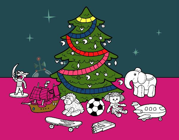 Dibujo de rbol de navidad y juguetes pintado por en for Dibujos de navidad pintados