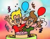 Dibujo Cumpleaños de hermanos pintado por xavi-7
