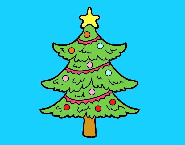 Dibujo de rbol de navidad decorado pintado por en dibujos for Dibujos de navidad pintados