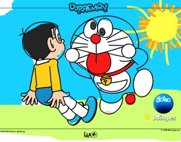 Dibujo de Doraemon y Nobita pintado por en Dibujosnet el da 22