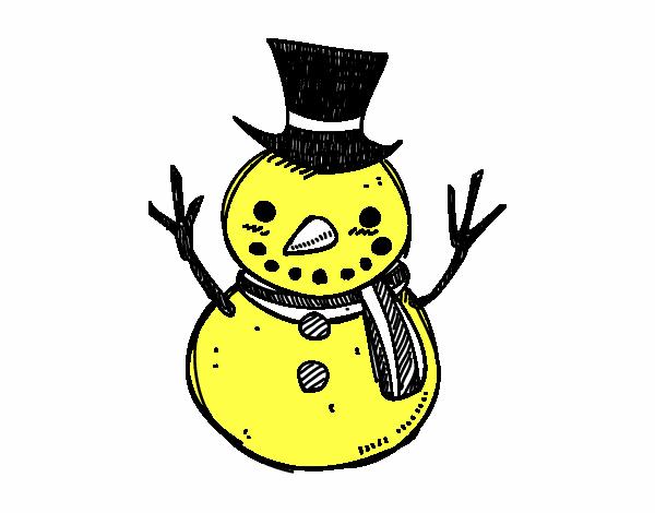 Muñeco De Nieve Dibujo: Dibujo De Un Muñeco De Nieve Con Sombrero Pintado Por En