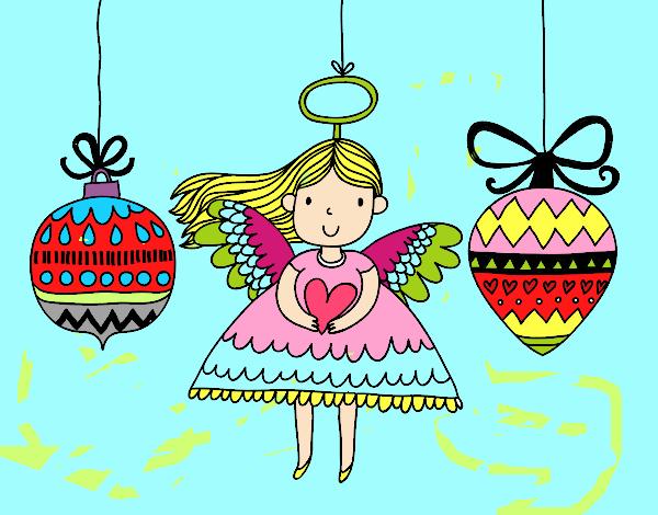 Dibujo de ngeles y bolas de navidad pintado por en for Dibujos de navidad pintados
