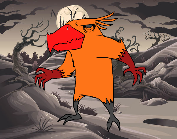 Dibujo De Monstruo Malvado Para Colorear: Dibujo De Monstruo Pajarraco Malvado Pintado Por En