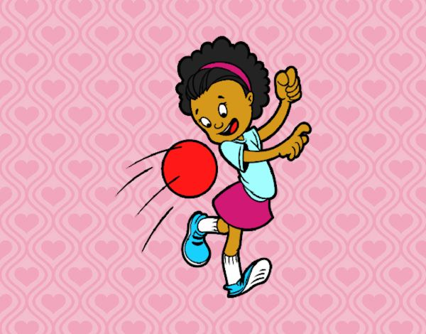 Dibujo De Jugador De Fútbol Con Balón Pintado Por En: Dibujo De Niña Con Balón Pintado Por Dandanhooo En
