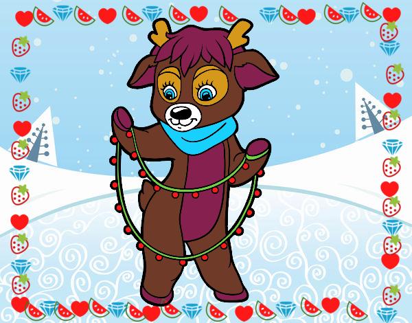 Dibujo de reno con luces de navidad pintado por esrellita - Renos de navidad con luces ...