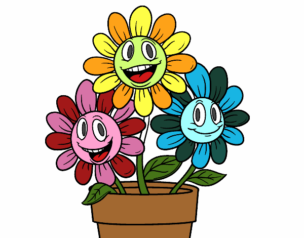 Dibujo de maceta de flores pintado por en el - Flores de maceta ...