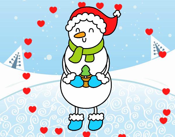Muñeco De Nieve Dibujo: Dibujo De Muñeco De Nieve Con Arbolito Pintado Por