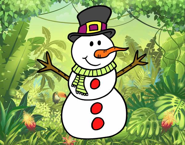 Muñeco De Nieve Dibujo: Dibujo De Muñeco De Nieve Con Sombrero Pintado Por En