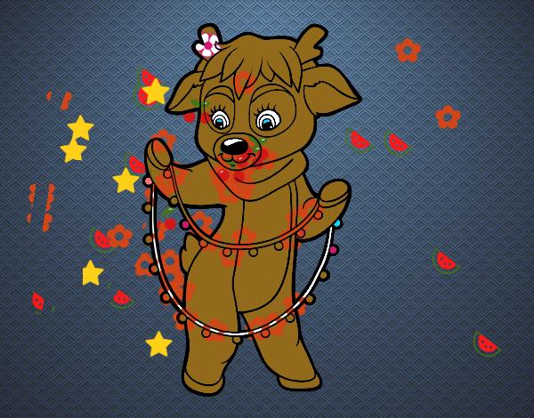 Dibujo de reno con luces de navidad pintado por en dibujos - Renos de navidad con luces ...