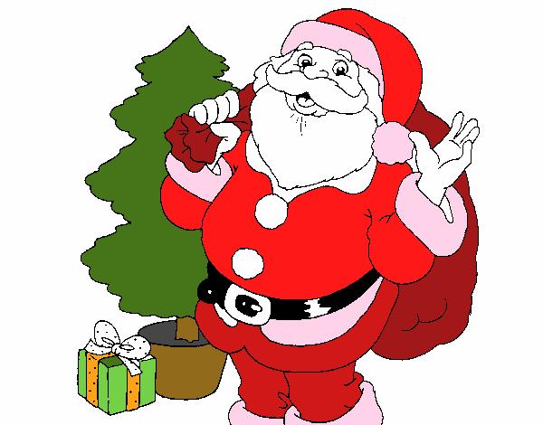 Dibujo de santa claus y un rbol de navidad pintado por en for Dibujos de navidad pintados