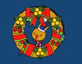 Corona navideña y conejito