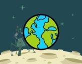 Dibujo El planeta tierra pintado por KEYSI