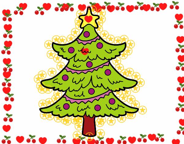 Dibujo de rbol de navidad decorado pintado por en dibujos for Arbol navidad online