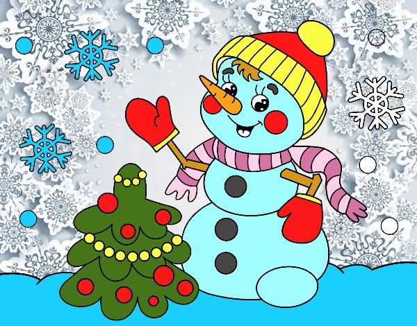 Muñeco De Nieve Dibujo: Dibujo De Postal De Navidad Muñeco De Nieve Pintado Por