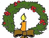 Dibujo Corona de navidad y una vela pintado por Bertha1276