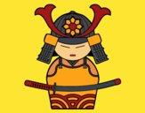 Dibujo Samurái chino pintado por izas