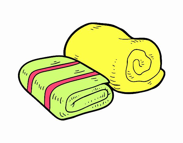 Dibujo de toallas de ducha pintado por en el for Colgador de toalla para bano