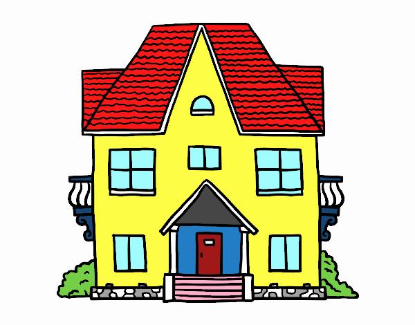Dibujo de casa de campo con balcones pintado por en for Casa disegno
