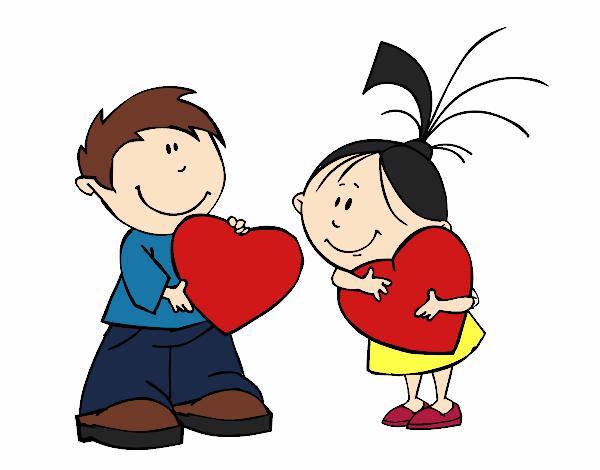 Dibujos De San Valentín: Dibujo De Niños En San Valentín Pintado Por Valeriiem En