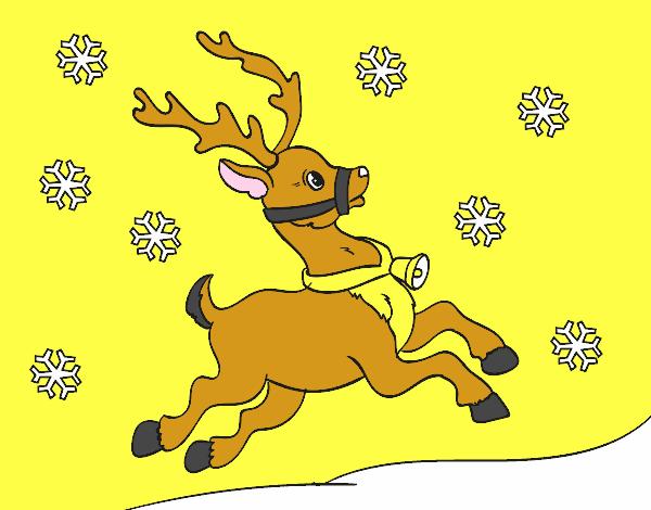 Dibujo de Reno de Navidad pintado por Melinama en Dibujosnet el