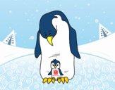 Pingüino con su cría