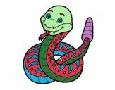 Dibujo Una serpiente de cascabel pintado por vados