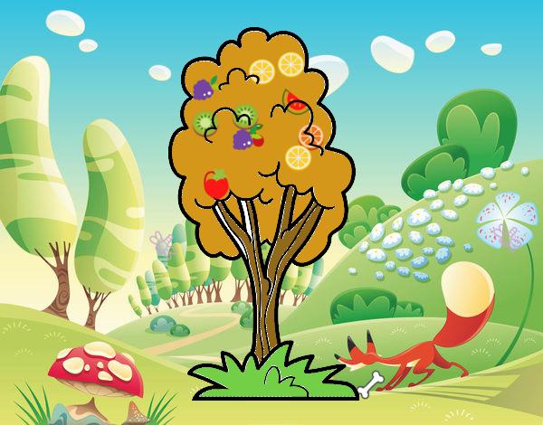 Dibujos Para Colorear De Arboles Frutales: Dibujos De Arboles Frutales Para Colorear