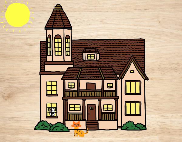 Dibujo Casa de dos pisos con torre pintado por Clouster