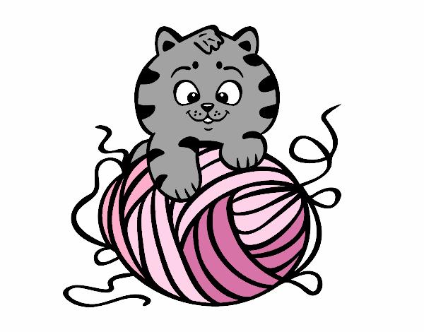 Dibujo de Gato con ovillo de lana pintado por en Dibujos ...