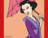 Geisha con paraguas