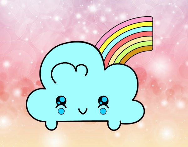 Dibujo Nube con arco iris kawaii pintado por Chuspitina