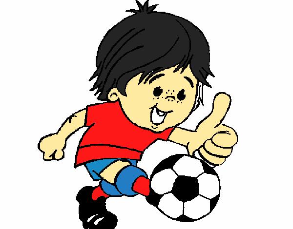 Dibujo De Jugando A Fútbol Para Colorear: Dibujo De Chico Jugando A Fútbol Pintado Por En Dibujos