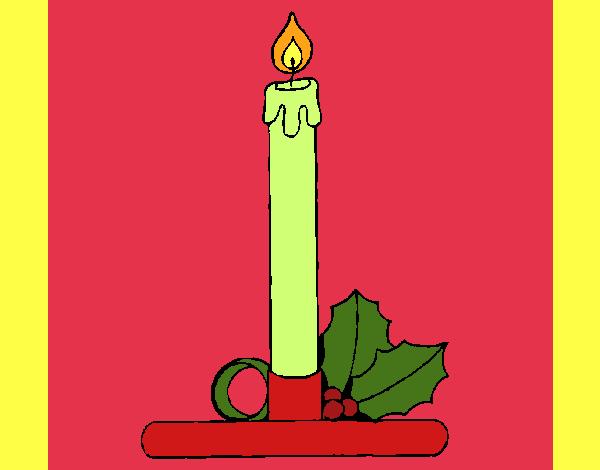 Dibujos De Velas De Navidad Para Colorear: Dibujo De Vela De Navidad Pintado Por En Dibujos.net El