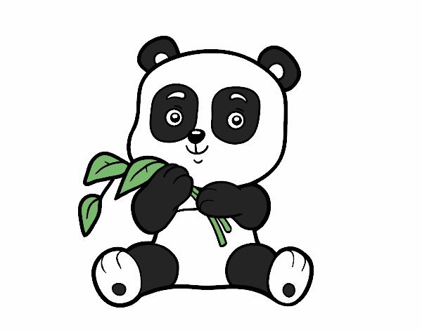 Dibujo de Un oso panda pintado por en Dibujosnet el da 050417