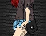 Dibujo Chica con bolso pintado por NatyG