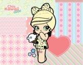 Dibujo Niña Kawaii con un helado pintado por gogy