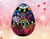 Dibujo Un huevo de Pascua floral pintado por cuyito