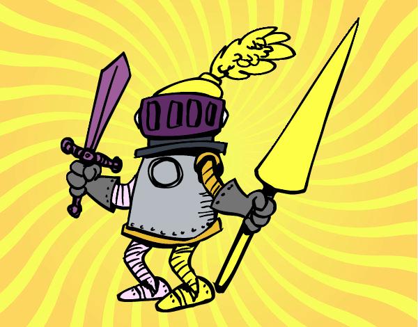 Caballero con espada y lanza