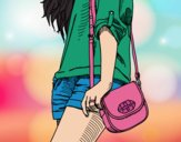 Dibujo Chica con bolso pintado por yaji