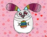 Dibujo Conejito de Pascua con ojos saltones pintado por cuyito